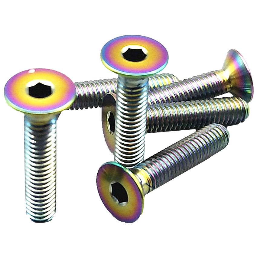 Titanium Bolt M3 M4x6/8/10/15/20mm Ti Bolt Countersunk/Flat Head Ti/Gold Multicolor Ti Screws Ti Fasteners4/6pcs klotz ti 0450psp