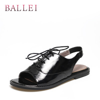 BALLEI Luxury Woman Summer Sandal High Quality Patent Leather Fashion Back Strap Lace up Shoes Solid Elegant Classic Sandal S101