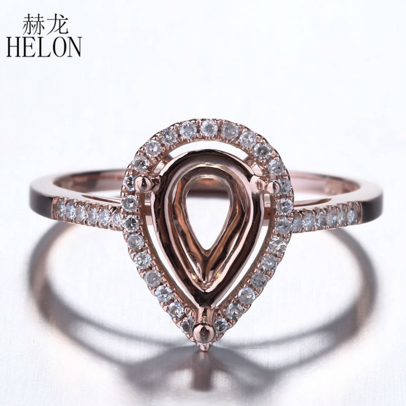 цены HELON 10x6mm Pear Cut Solid 10k White Gold Women Jewelry Pave Natural Diamonds Semi Mount Engagement Wedding Fine Ring wholesale