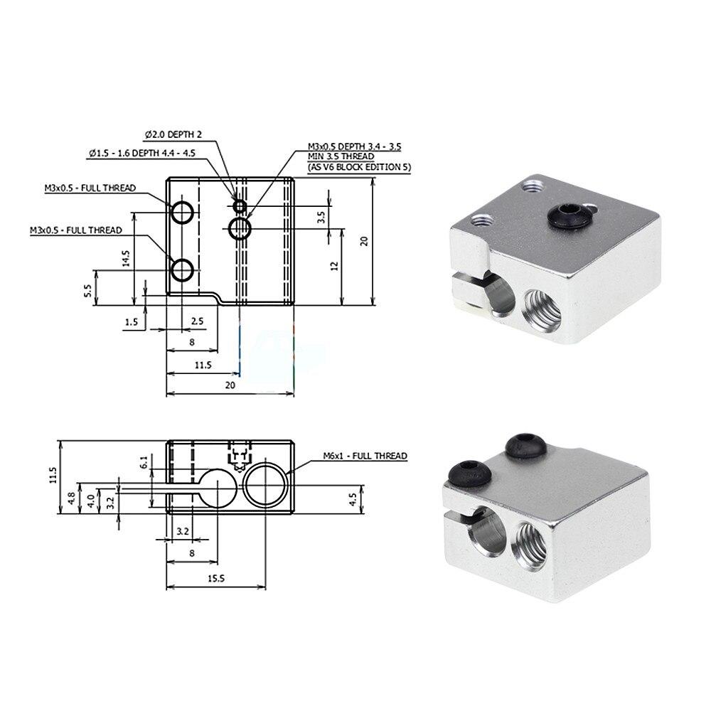 3D Printer V6 Volcano Aluminium Heater For Print Head Hot End Heating Block