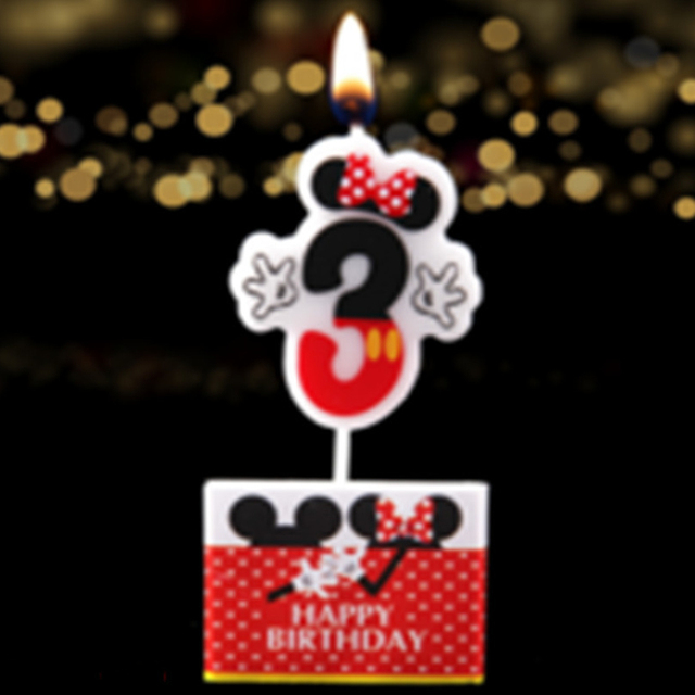 Minnie Mouse Numbers 3 Cake Candles Party Favors Ideas Baby Shower Childrens Day 3rd Birthday Toppers Decorations