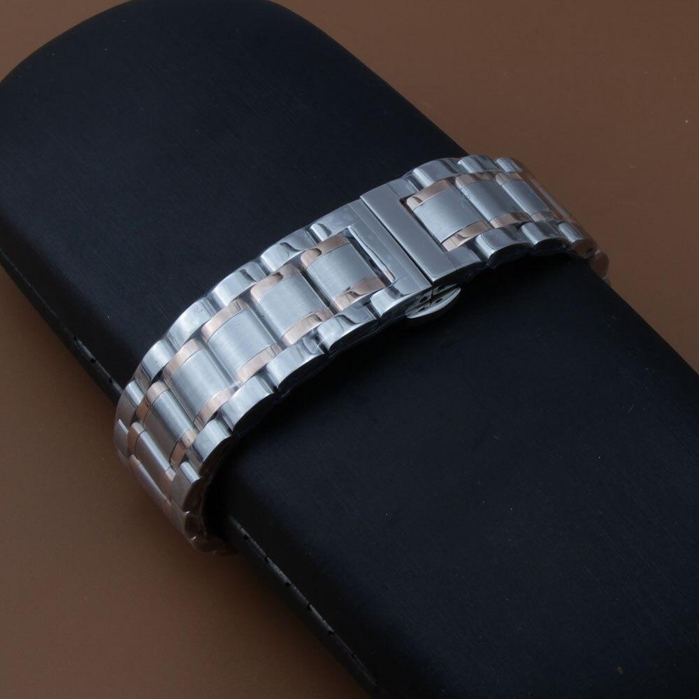 Серебряный, смешанный, розовое золото, серебро, ремешок для часов из нержавеющей стали, цельный, без звеньев, изогнутый конец, ремешок для ча