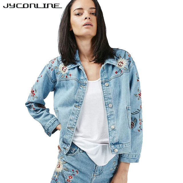 39c40b7f97b6 JYConline Vintage Denim Jacket Women Floral Embroidery Streetwear Coat  Cowboy Jackets For Women Jeans Coat Blue Basic Coats Tops