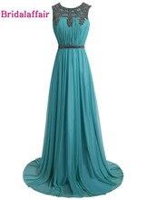KapokBanyan Real Photo Chiffon Prom Dresses 2017 Scoop Neck Long Dress Sweep Train Appliques Lace Party Gown Robe de soiree