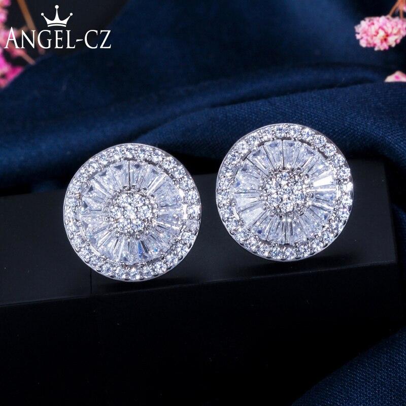 ANGELCZ 6 Barvy Možnosti Šumivé Multi-tvarované CZ Crystal nastavení Korejský styl Náušnice pro ženy Módní šperky AE023