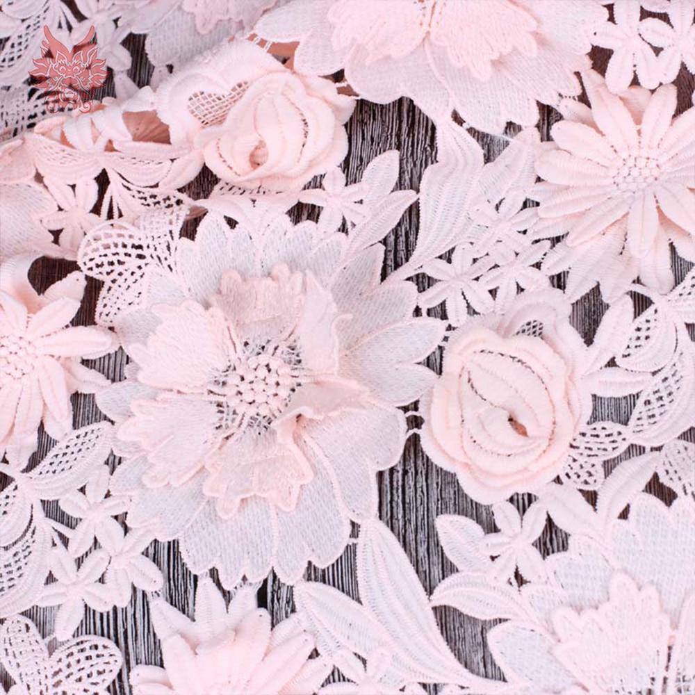 아메리칸 스타일 핑크 블루 3d 꽃 아플리케 헤비급 꽃 자수 레이스 원단 tissu telas 무료 배송 sp4752-에서레이스부터 홈 & 가든 의  그룹 2