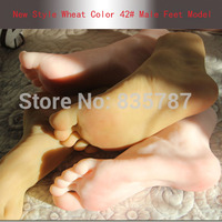 Height 14CM, Size 42# Wheat Skin Color Silicone Male Fake Feet Model,Inner Bone Inside,Toe Move Freely,Mannequin For Shoes F601