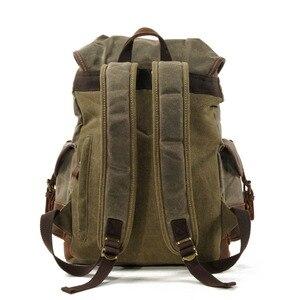 Image 3 - M272 Vintage Canvas Leather Backpacks for Men Laptop Daypacks Waterproof Canvas Rucksacks Large Waxed Mountaineering Travel Pack