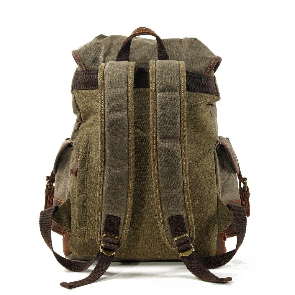 M272 винтажные холщовые кожаные рюкзаки для мужчин, рюкзаки для ноутбука, водонепроницаемый рюкзак из парусины, большой вощеный альпинистский дорожный рюкзак - 3
