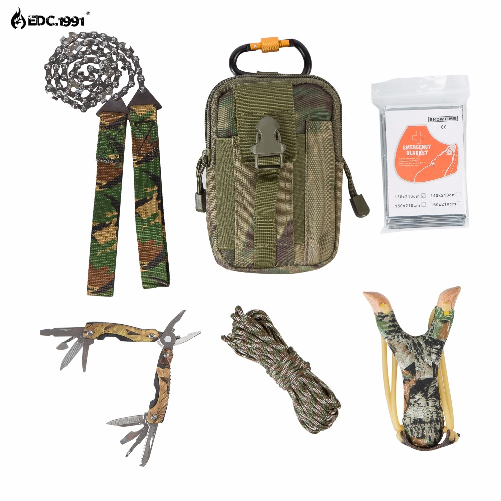 high quality Outdoor Camping Equipment Climbing Bag Survival Kit Paracord Carabiner slingshot Wire Saw Folding Plier