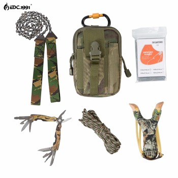high quality Outdoor Camping Equipment Climbing Bag Survival Kit Paracord Carabiner slingshot Wire Saw Folding Plier EDC tools edc 1991 12 in1 outdoor camping equipment survival kit paracord 550 with knife carabiner edc tools for compass wire saw