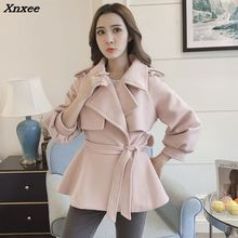 Sweet Warm Short Wool Blend Ladies Coat Loose Belt Solid  Womens Jacket Full Sleeve Korean Fashion Xnxee