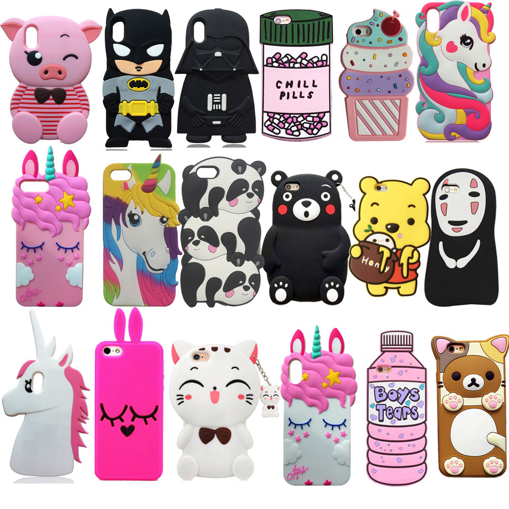 <font><b>3D</b></font> <font><b>Cartoon</b></font> Soft Silicone Case Cover Skin For <font><b>iPhone</b></font> 5 <font><b>5s</b></font> 5c SE 6 6s Plus 7 7Plus 8 8Plus X XS XR XS Max Cell Phone <font><b>Fundas</b></font> Shell image