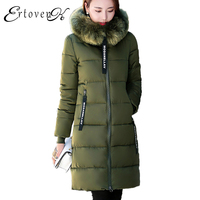5XL Womens Plus Size Big Fur Collar Detachable Long Coat Winter New Hooded Thicken ArmyGreen Down