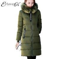 5XL Womens Plus Size Big Fur Collar Detachable Long Coat Winter New Hooded Thicken ArmyGreen Down