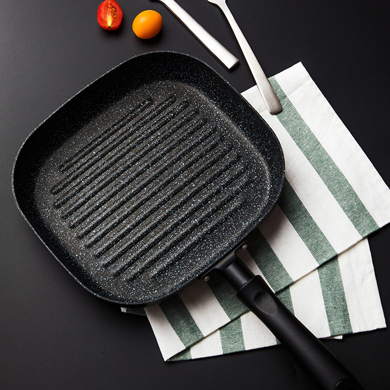 22x24 CM No Oil-smoke Pan Steak Frying Pan Breakfast Frying Eggs Only Use for Gas Cooker Non-Stick Pans Cooking Helper