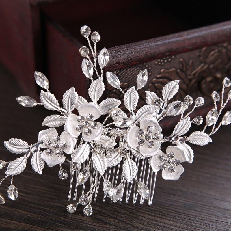 Bride Headpiece Hair-Accessories Jewelry Crystal-Hair-Comb Leaf Wedding-Hair Metal Women