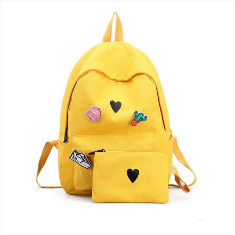 Meloke 2018 printed heart school bags set cactus badage travel backpacks for girl casual backpack drop shipping MN903
