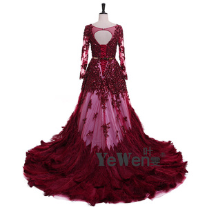 Image 3 - יען נוצות Burgudy זהב ארוך שרוולים V צוואר נצנצים כלה שמלות הערב 2020 Vestidos דה Novia