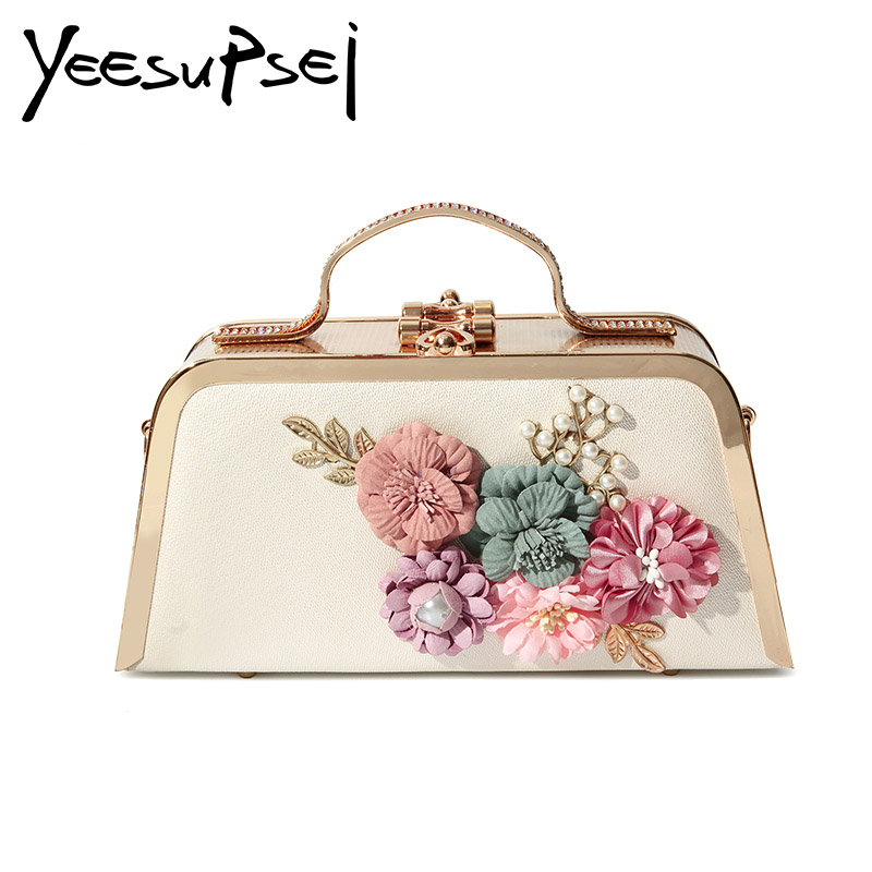 YeeSupSei femmes boîte sac petit carré doré chaîne serrure sac à bandoulière sac à main sac à main fleur bandoulière sacs embrayage Bolsas Femininas