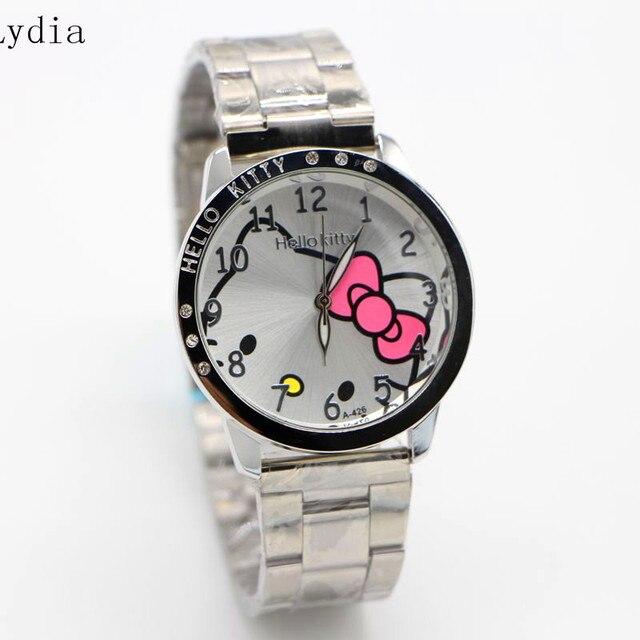 6623fa797 hot sales Fashion Women stainless steel Watch Girls Hello Kitty quartz Watch  for Cartoon Watches