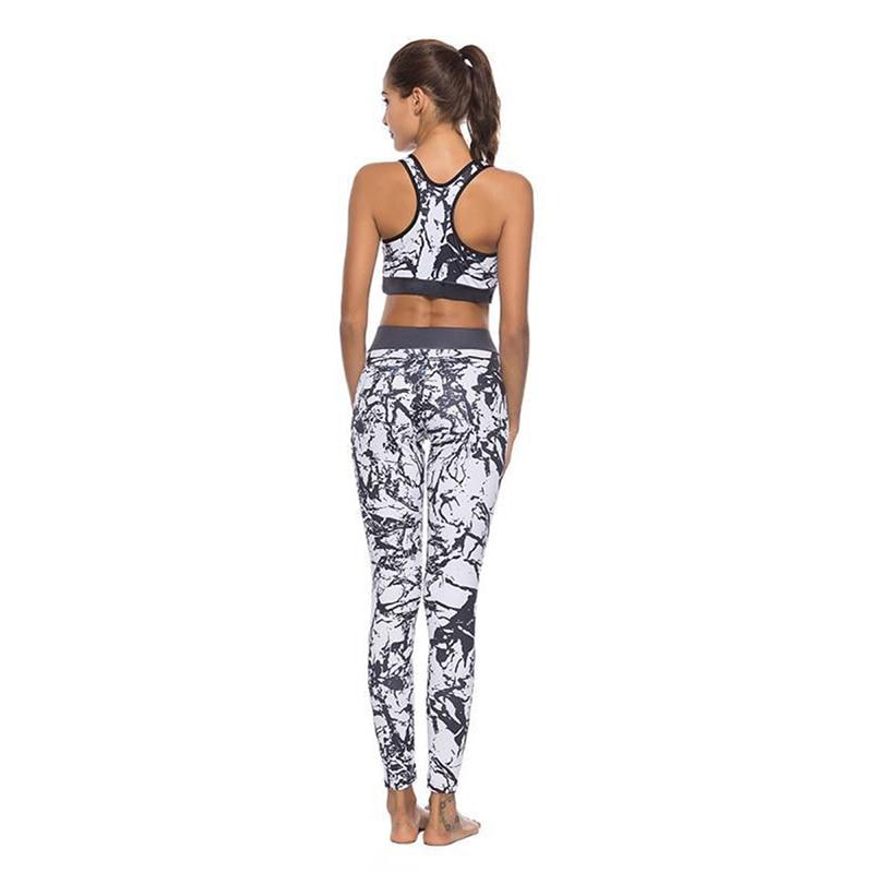 af510717ae Black White Floral Printed Women Yoga Set Splice Running Set Bra Leggings  Sports Suit Vintage Sports Clothing Gym Tracksuit