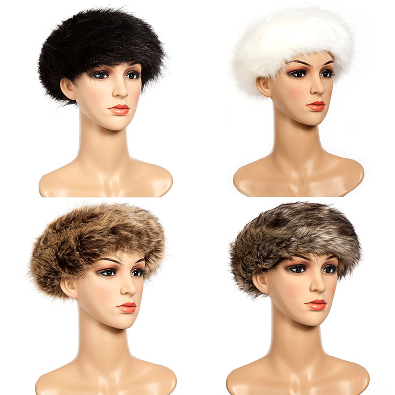 Fashion Ladies Men Faux Fur Hat Headband Winter Earwarmer Russian Women Cap Drop ship