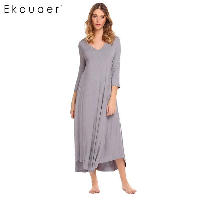 63dc70163ab9e Ekouaer Casual Women Nightgowns Soft Sleepwear V-Neck 3 4 Sleeve Solid  Loose Fit Gown Nightgown Home Clothing Night Dresses