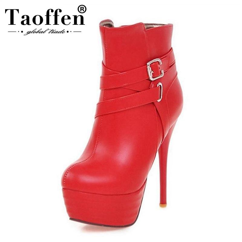 b491a83f9 33-46 TAOFFEN Plus Size Mulheres Sapatos De Salto Alto Botas Com Zíper  Inverno Quente
