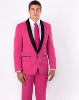 Hot Pink Men's Wedding Party Tuxedos With Black Shawl Collar2017 Elegant One Button Groomsman Wedding Suits( Jacket+Pants+Tie)