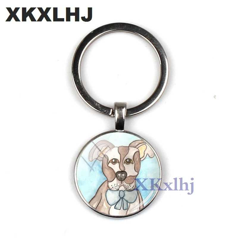 XKXLHJ 2018 แฟชั่น Pit Bull Dog พวงกุญแจ Pitbull พวงกุญแจแก้วโดมคีย์โซ่เงินรอบ Hand craft Keyrings สำหรับกระเป๋าผู้หญิง