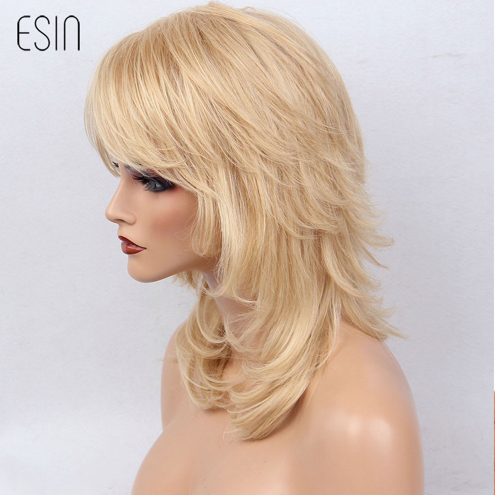 Esin Blend Hair Wigs Multi-layered Natural Wave Long Wig Blonde Side Parting Bangs Synthetic hair for White Women Free Shipping