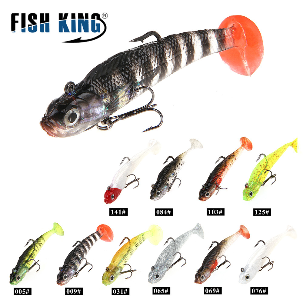 FISH KING 1PC Soft Bait Jig Fishing Lure With Lead Head Fish Swim bait Treble Hook Fishhook whopper plopper 8/10CM 9g/21.5g
