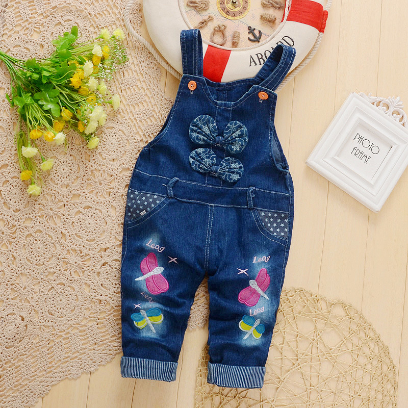 Bibicola Baby Hosen Kinder Denim Overalls Stickerei Libelle Jeans Infant Baby Bib Hosen Jungen Mädchen Denim Overall