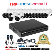 Dahua original 720P DHI-HAC-HFW1000R waterproof CVI IR Bullet Security Camera with H.264 16CH CVI DH-XVR4116HS camera kit