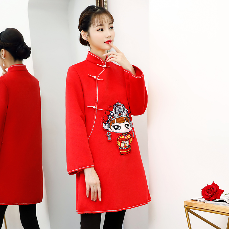Mode Genou Longueur Cheongsam 2018 Vintage style Chinois Robe D'hiver Femmes Qipao Mince Partie Robes Bouton Robe S-XXL
