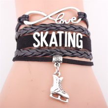 Fashion Personality Antique Silver Ice Figure Skates Boots Shoes Pendant Infinity Love SKATING Bracelets for Women Men Gifts(China)