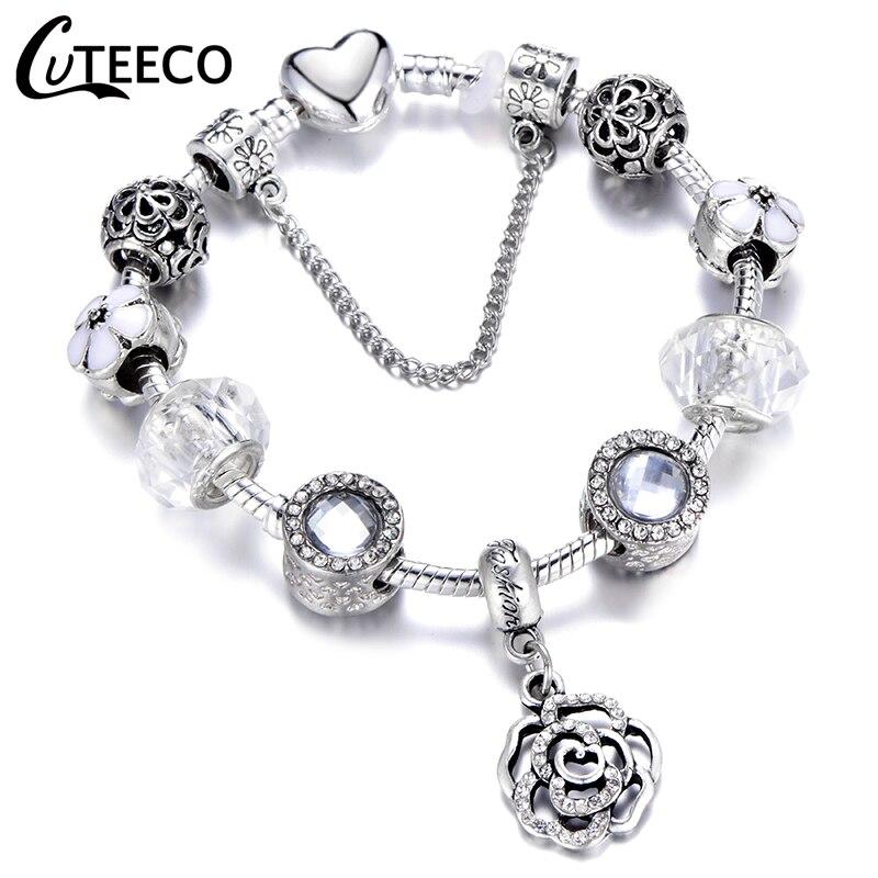 CUTEECO Silver Plated AAA Zircon Flower Pendant Charm Bracelets For Women Marano Beads Fit Brand Bracelet Jewelry Dropshipping пандора браслет с шармами