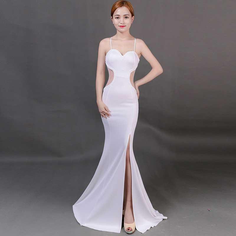 Sladuo femmes élégantes bretelles blanches sans manches longue fente Sexy dos nu sirène étage longueur Clubwear robe de soirée