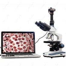 Лаборатория Микроскоп Соединения-Amscope оборудование 2000X СВЕТОДИОД Лаборатория Тринокулярный Соединение Микроскоп w 3D Механический Столик + USB2 Камеры
