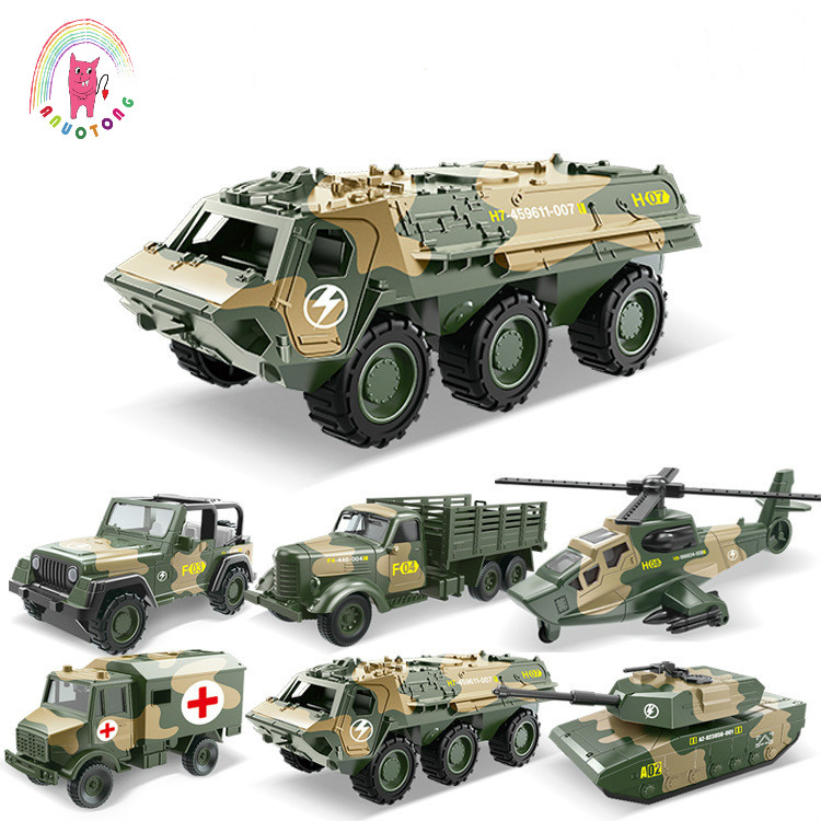 Children Alloy ABS Military Model Simulation Vehicle Tank Transport Helicopter Armored Vehicle Die Casting Birthday Gift Toy Set