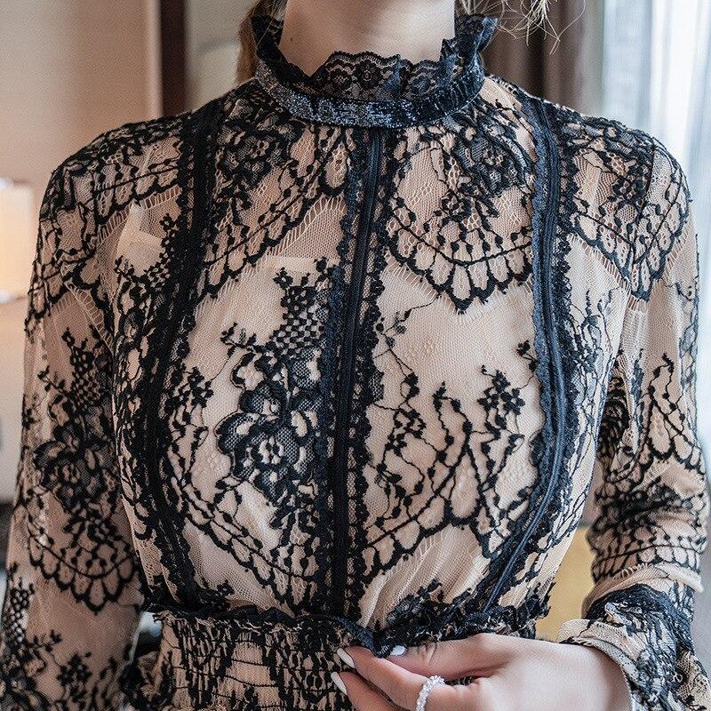 Manches Robes Dentelle Mode Soirée Printemps mollet Vintage Femmes Hérissé Longueur Partie Longues Collier De Mi Robe Été 2019 6yI7gvYfb