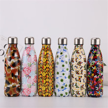 Colorful Floral Water Bottle 500ml Camouflage Printed Portable Insulated Tea Beer Drink Vacuum Thermos Flask