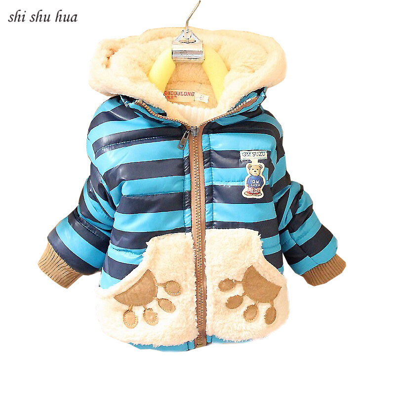 Boys Girls Cold Winter Hooded Jacket with Velvet Baby Warm Jackets Cartoon Striped Hooded Warm Jacket Thickening 2-4 years old