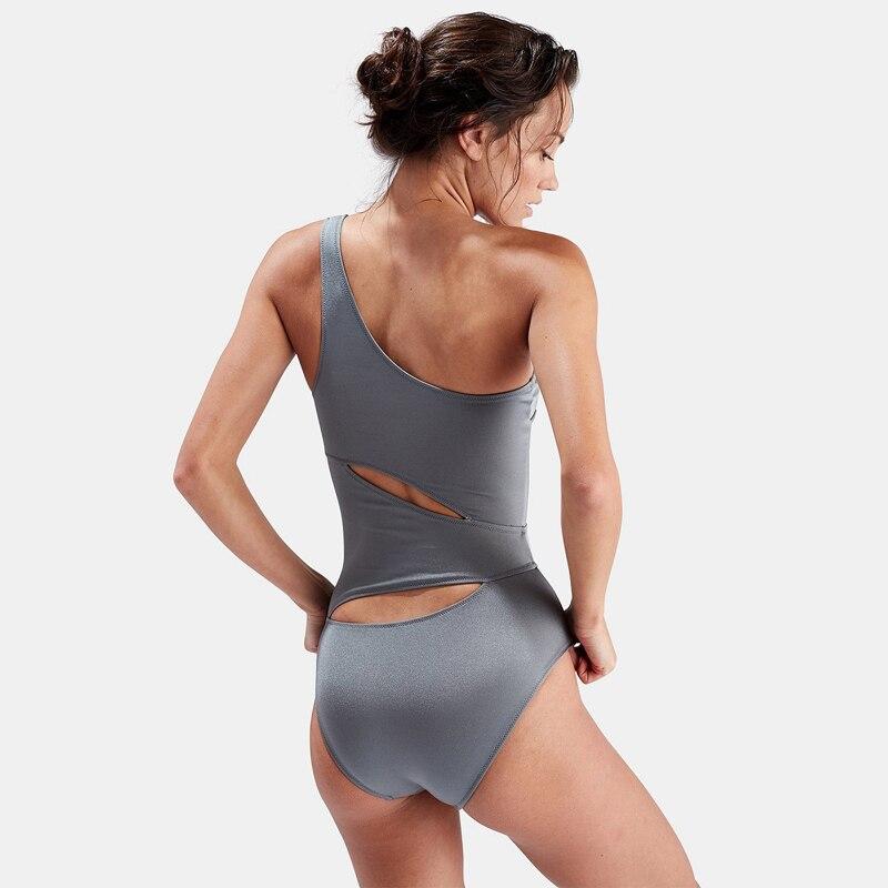 2018 New One Piece Women Swimwear Solid Color One Shoulder Bandage Bikini Swimsuit Monokini Beach Wear Sexy Hollow Bodysuit