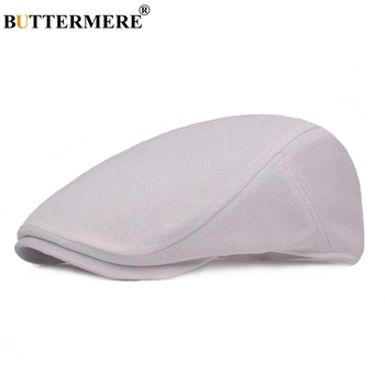 BUTTERMERE Cotton Beret Hat Men White Casual Mesh Flat Cap Male Solid Breathable Adjustable Classic Summer Duckbill Caps Fahion svadilfari classic beret caps men warm genuine leather caps ivy windproof duckbill hat burgundy winter luxury brand flat hats