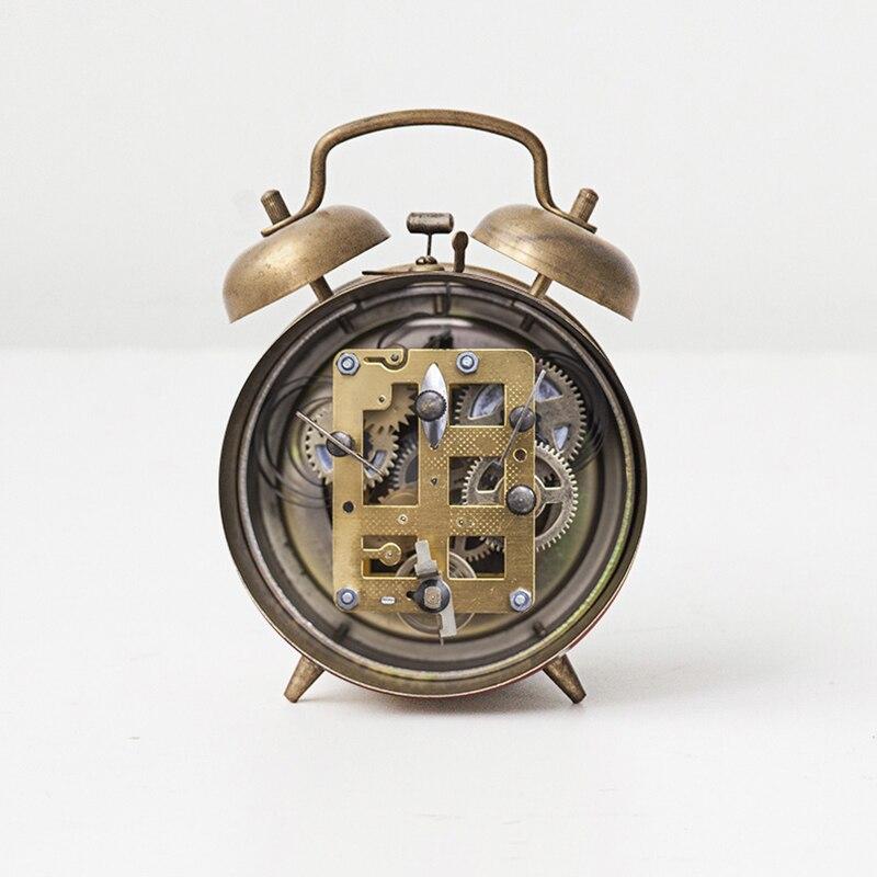 Винтажные Ретро часы с бесшумной указкой Громкий будильник иглы студенческие прикроватные изысканные чистые медные громкие голосовые механические часы - 4