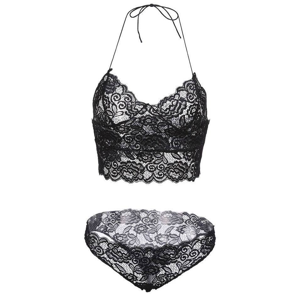 e7a3525d5f7 ANNJOLI Plus Size 5XL Women Sexy Corset Hollow Lace See through Push Up  Cami Bra Top and Panties Underwear Lingerie Set 3 Colors-in Bra   Brief  Sets from ...
