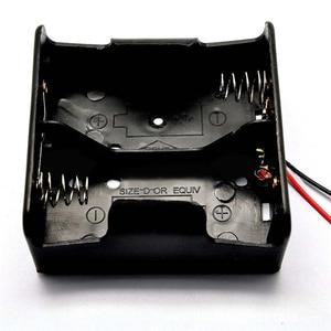 Image 2 - 1PCS Draht Leaded Batterie Halter Fall Box Ohne Abdeckung Für 2 x D Größe 3V Batterien 75,3x75,6x35,1 MM
