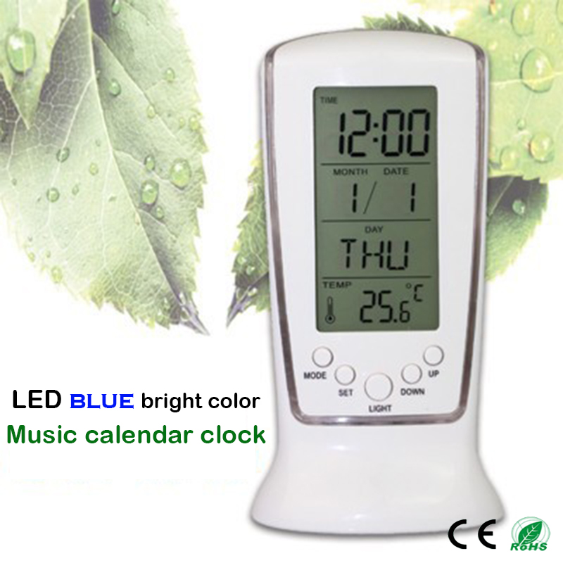 Multi-function Clocks LCD Digital Clock Calendar Thermometer Display Clock Blue LED Backlight Alarm Clock